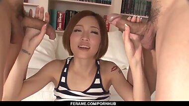 Skinny Ena Ouka gets a lot of inches in her tiny - More at javhd.net