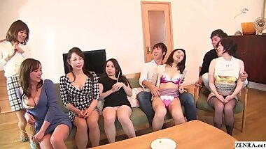 Japanese MILF party thong lineup and CFNM handjobs